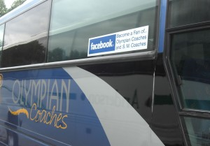 Facebook Fan Sticker on the side of the coach - well done!