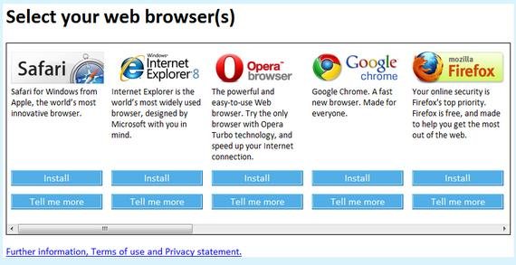 Browser Wars - Windows 7 Browser Choice Window