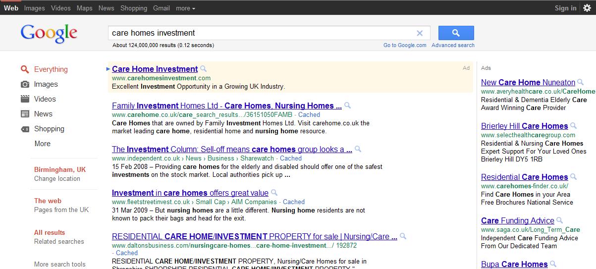 New Google layout 2011