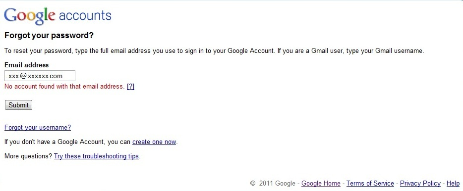 No Account with Google Exists