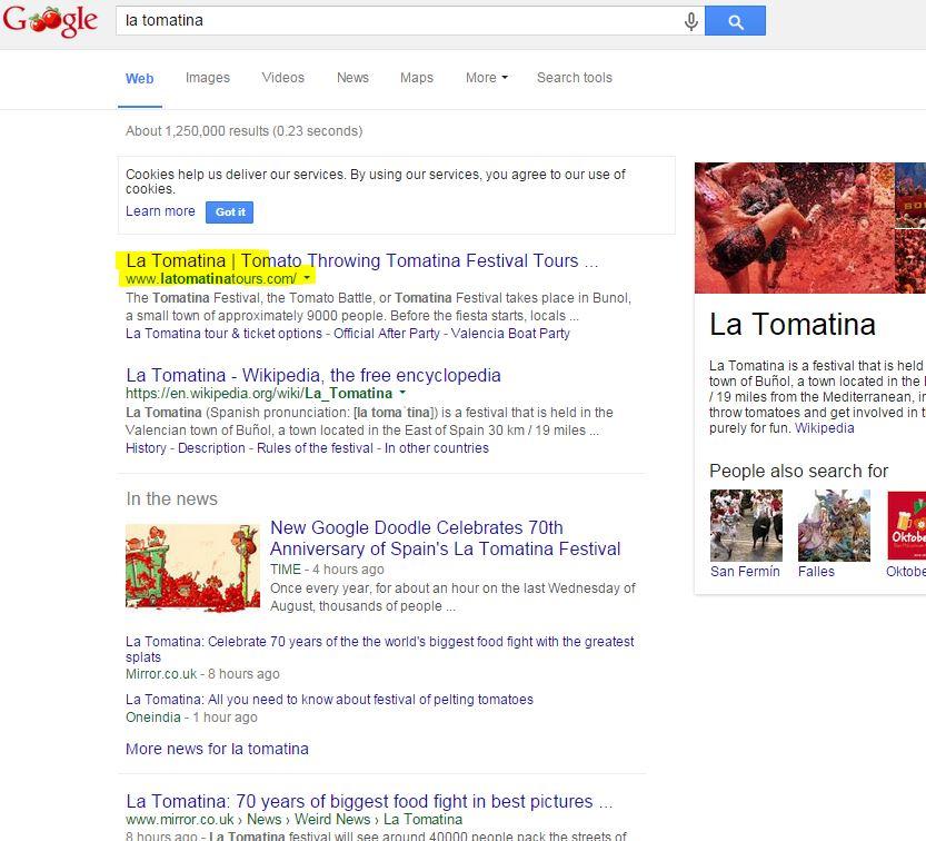 La Tomatina SERP